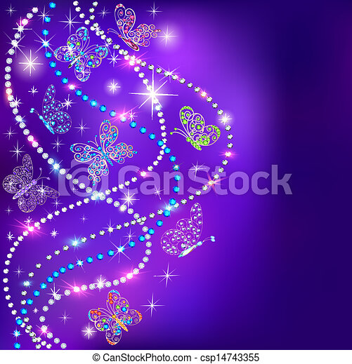 illustration of a blue background butterflies and stars with precious stones - csp14743355