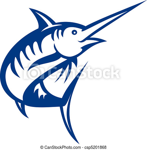 illustration of a blue marlin fish jumping isolated on white - csp5201868