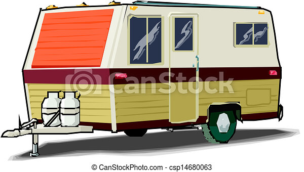 Illustration of a caravan on white  - csp14680063