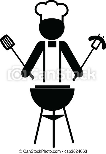 illustration of a  chef making bbq -1 - csp3824063