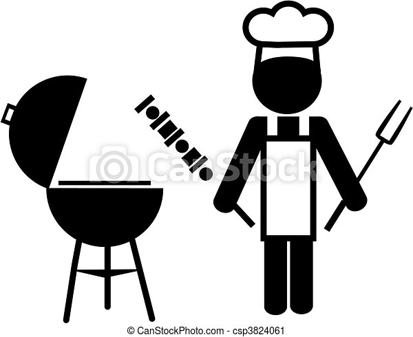 illustration of a chef making bbq -2 - csp3824061