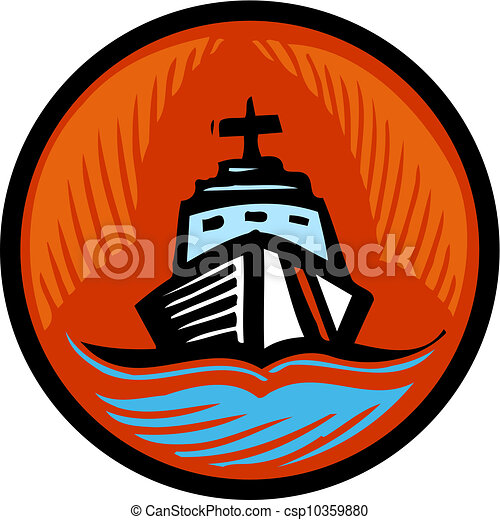 illustration of a coast guard boat in an orange circle stock rh canstockphoto com coast guard boat clipart coast guard cutter clipart
