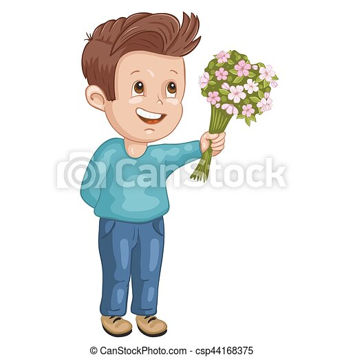 Illustration of a cute man with flowers - csp44168375
