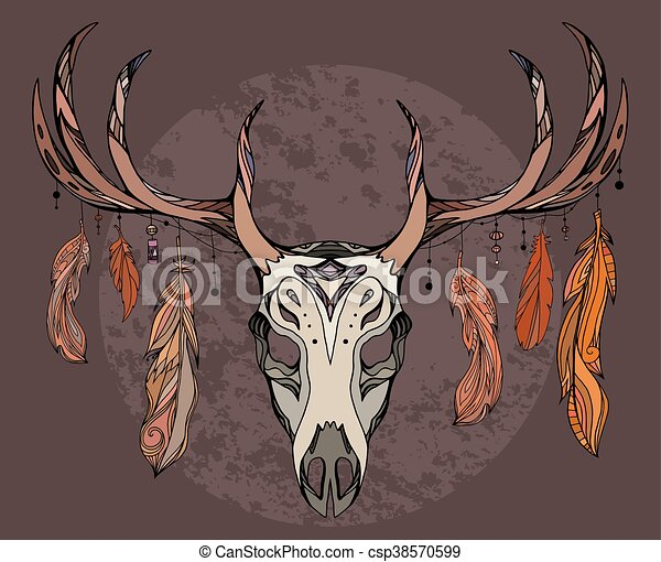 Illustration of a deer skull with feathers. Sketch of tattoo sticker. - csp38570599