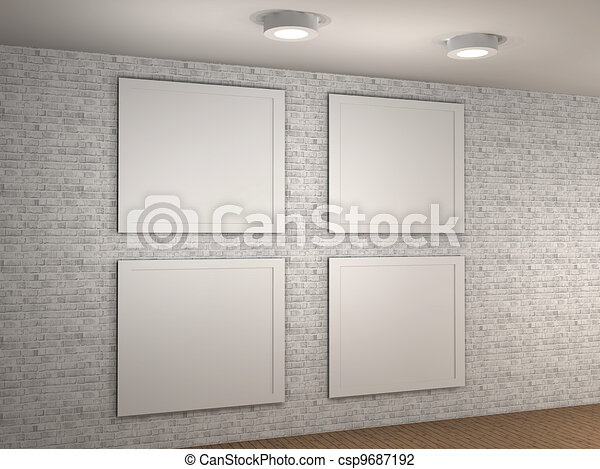 3d illustration of a empty museum wall with 4 frames clip art illustration of a empty museum wall with 4 frames sciox Images
