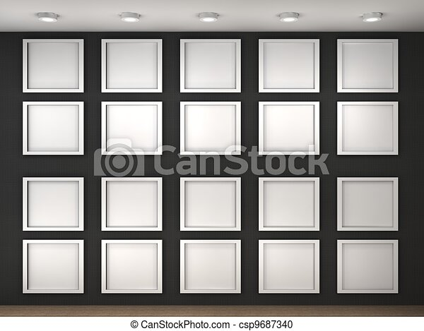 3d illustration of a empty museum wall with frames stock illustration of a empty museum wall with frames sciox Images