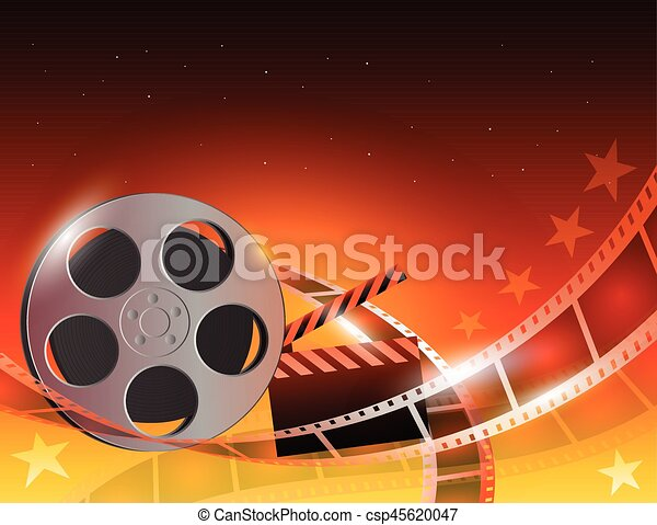 Illustration of a film stripe reel on shiny red movie background - csp45620047