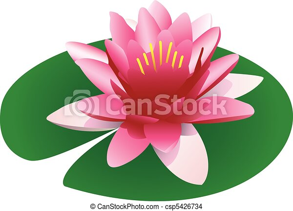 illustration of a floating pink lotus on a lily pad eps vector rh canstockphoto com lily pad clip art free black and white outline of lily pad clipart