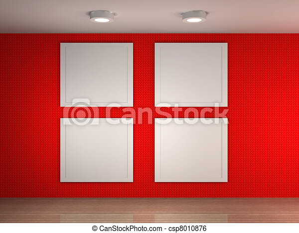 illustration of a gallery with 4 empty frames - Empty Frames