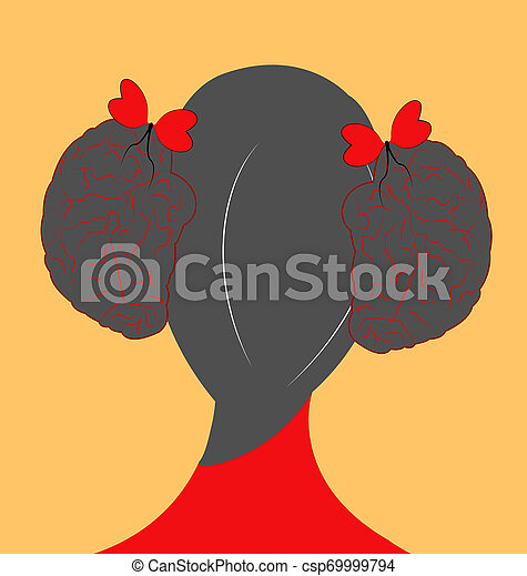 illustration of a girl with hair style as brains and ribbon as hearts - csp69999794