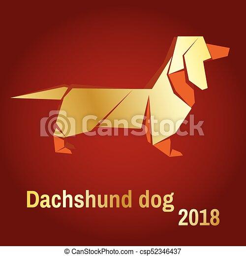 Illustration Of A Golden Dog Vector Illustration Gold Origami Dog