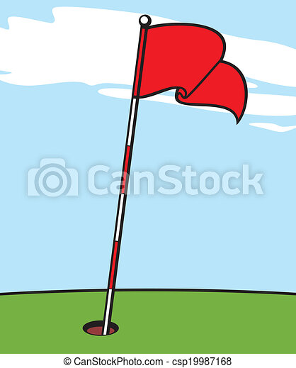 illustration of a golf flag clip art vector search drawings and rh canstockphoto com clipart golf ball flag Funny Golf Clip Art