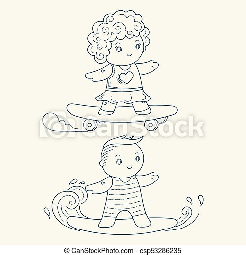 illustration of a kids on a surfboard and skateboard kawaii children set coloring page https www canstockphoto com illustration of a kids on a surfboard 53286235 html