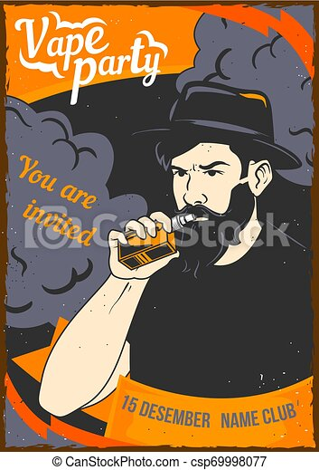 illustration of a man holding a vape in his hand - csp69998077