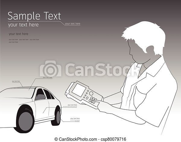 Illustration of a mechanic technician car automobile repair - csp80079716