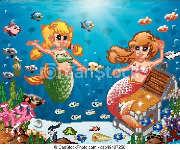 Illustration of a mermaid under the sea - csp49407258
