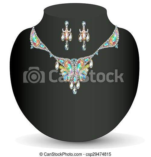 illustration of a necklace with her - csp29474815