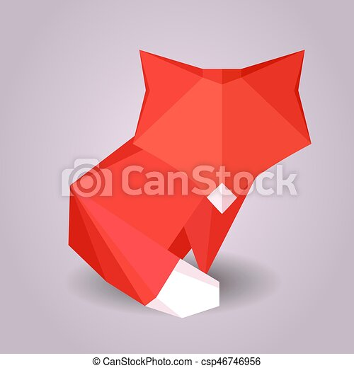 Illustration Of A Paper Origami Fox Paper Zoo Vector Element For