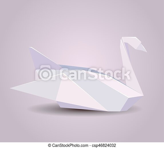 Illustration Of A Paper Origami Swan Paper Zoo Vector Element For