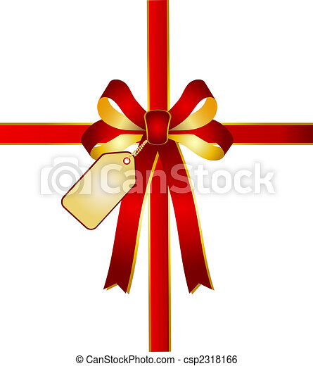 illustration of a red - golden ribbon with card tag - csp2318166
