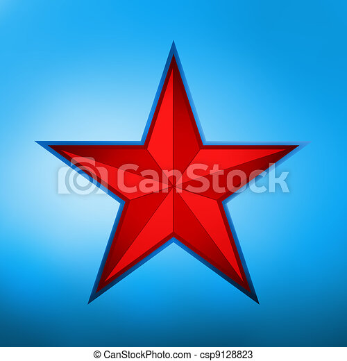 illustration of a red star on blue. EPS 8 - csp9128823