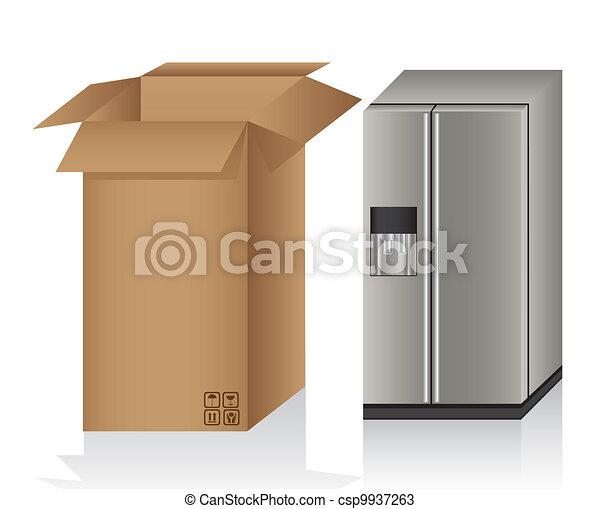 Illustration of a refrigerator ans a box, - csp9937263