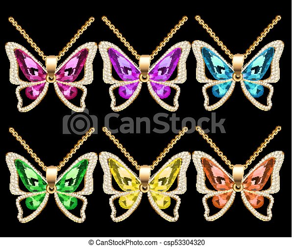 illustration of a set of butterfly pendants with precious stones - csp53304320