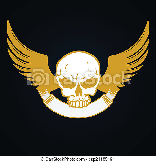Illustration of a skull with emblem - csp21185191