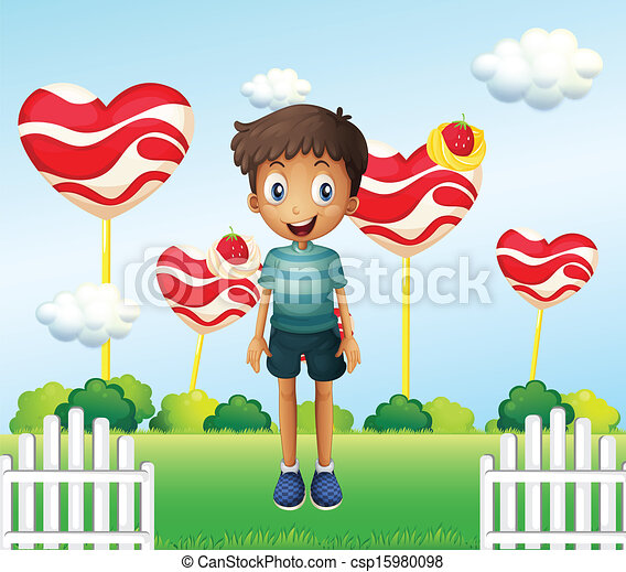 Illustration of a smiling young boy standing in the garden with giant heart lollipops - csp15980098
