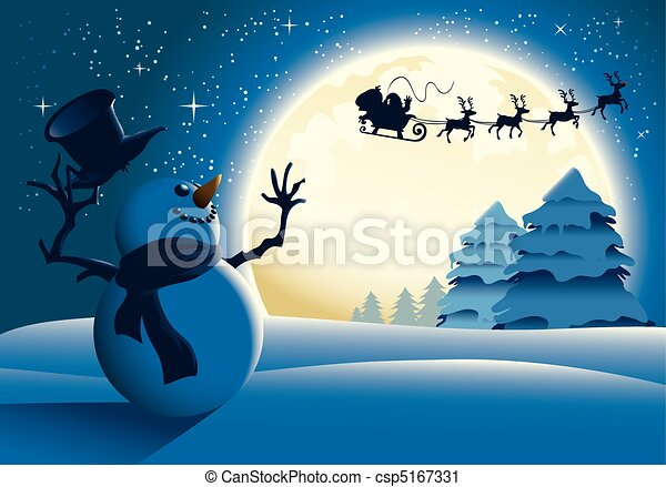 Illustration of a snowman waving happily to Santa and his sleigh with a full moon background. - csp5167331