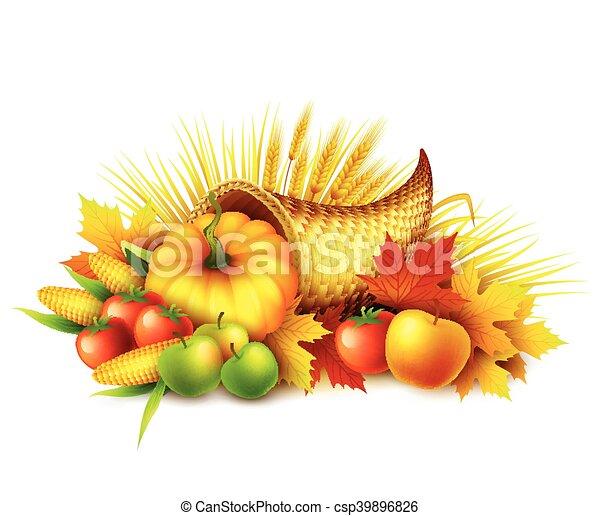Illustration of a Thanksgiving cornucopia full of harvest fruits and vegetables. Fall greeting design. Autumn harvest celebration. Pumpkin and leaves. Vector illustration - csp39896826