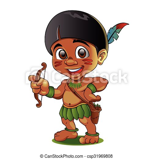 Illustration of a Tough Kid Indian - csp31969808