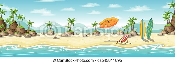 Illustration of a tropical coastal landscape with deckchair, umbrella and surfboard - csp45811895