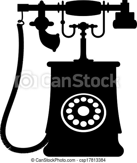 Illustration Of A Vintage Rotary Dial Telephone Black And White