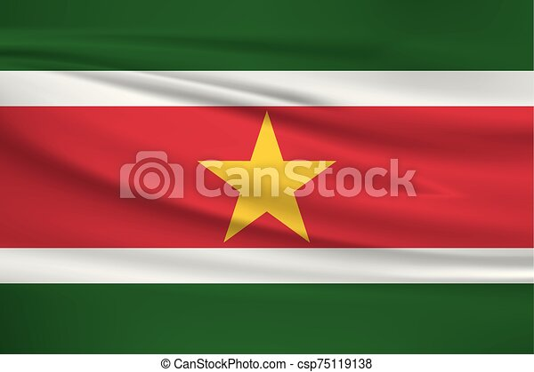 Illustration of a waving flag of the Suriname - csp75119138
