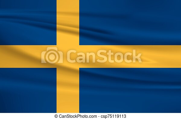 Illustration of a waving flag of the Sweden - csp75119113