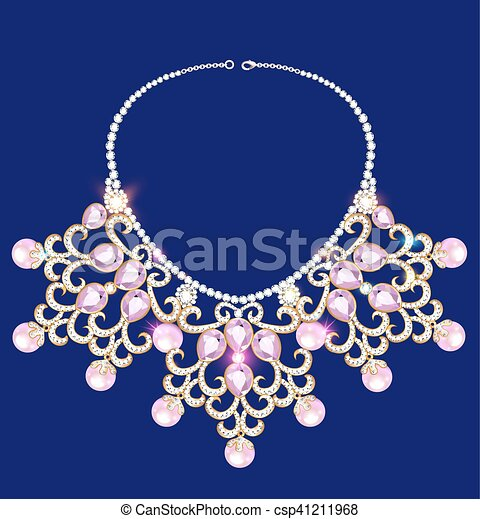 illustration of a woman's necklace with precious stones - csp41211968