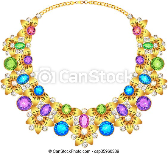 illustration of a woman's necklace with precious stones - csp35960339