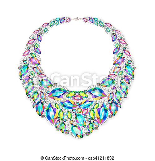 illustration of a woman's necklace with precious stones - csp41211832
