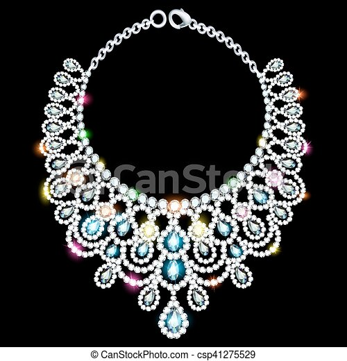 illustration of a woman's necklace with precious stones - csp41275529