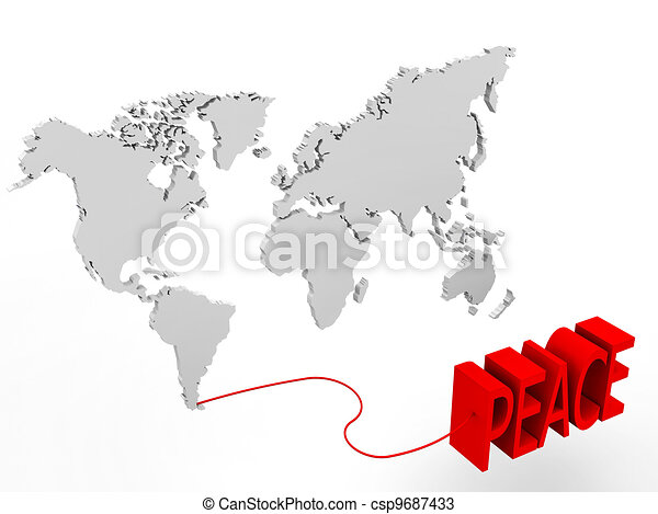3d illustration of a world map connected to a peace word drawings illustration of a world map connected to a peace word gumiabroncs Images