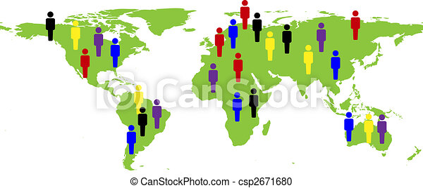 illustration of a world map with people - csp2671680