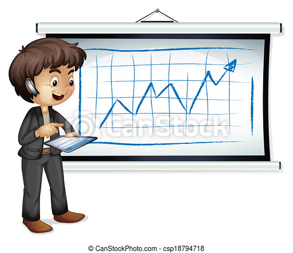 Illustration of a young businessman standing in front of the whiteboard with a gadget on a white background - csp18794718