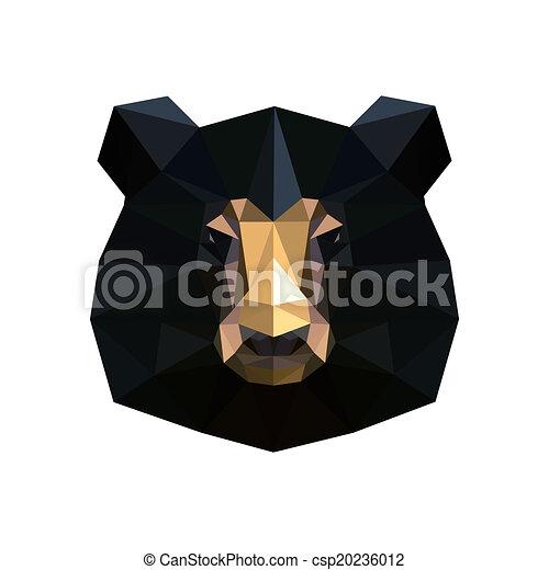 Illustration Of Abstract Origami Black Bear Portrait
