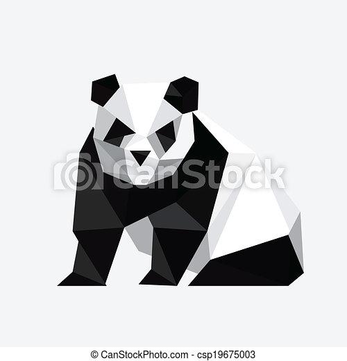Illustration Of Abstract Origami Panda Bear