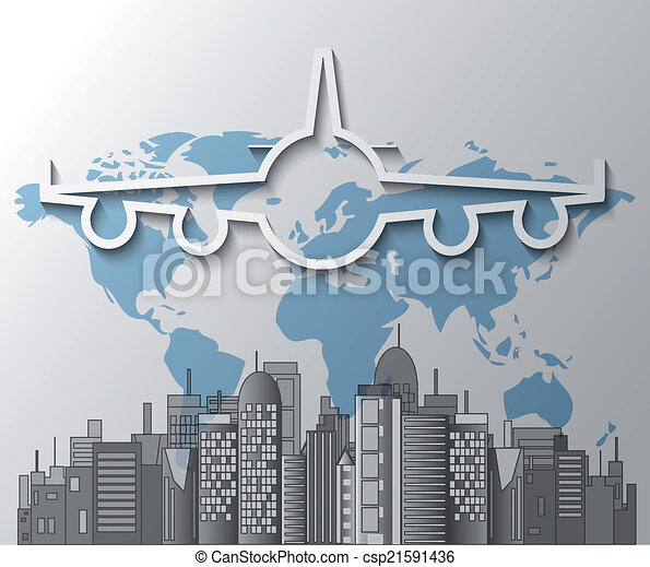 Illustration of airplane with city skyline on world map illustration of airplane with city skyline on world map gumiabroncs Image collections