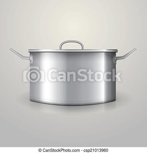 Illustration of aluminum saucepan - csp21013960