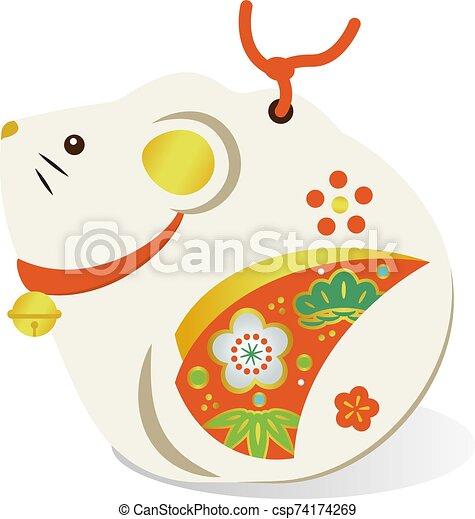 Illustration of an auspicious Japanese mouse - csp74174269