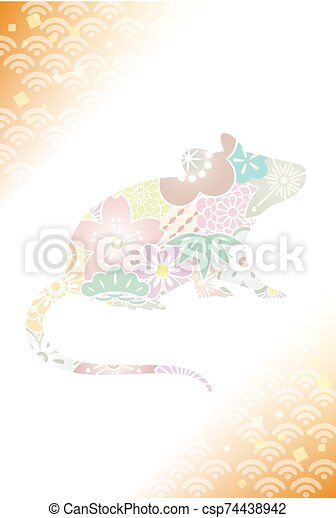 Illustration of an auspicious Japanese mouse - csp74438942