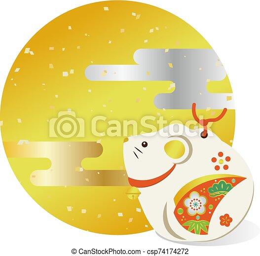 Illustration of an auspicious Japanese mouse - csp74174272